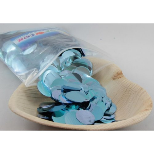 CONFETTI METALLIC LIGHT BLUE CIRCLES - 250 GRAMS
