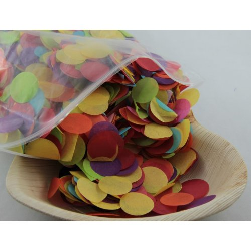 CONFETTI TISSUE MULTI COLOURED CIRCLES - 250 GRAMS