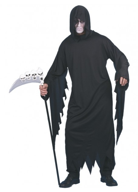 GRIM REAPER HOODED ROBE WITH DRAPING SLEEVES -  LARGE