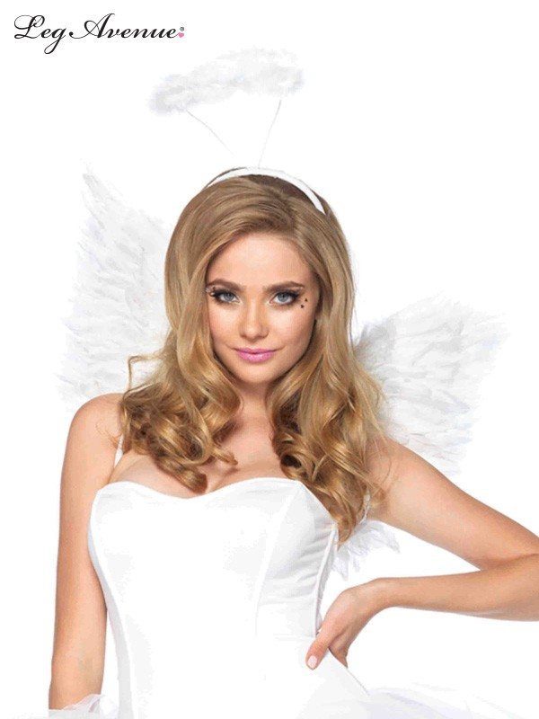 ANGEL WINGS & HALO SET - WHITE FEATHER PLUSH LEG AVENUE DESIGN