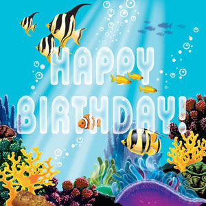 OCEAN PARTY 'HAPPY BIRTHDAY' LUNCH NAPKINS PACK OF 16