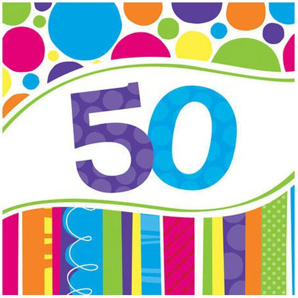 50TH BIRTHDAY PARTY NAPKINS BRIGHT & BOLD - PACK OF 18