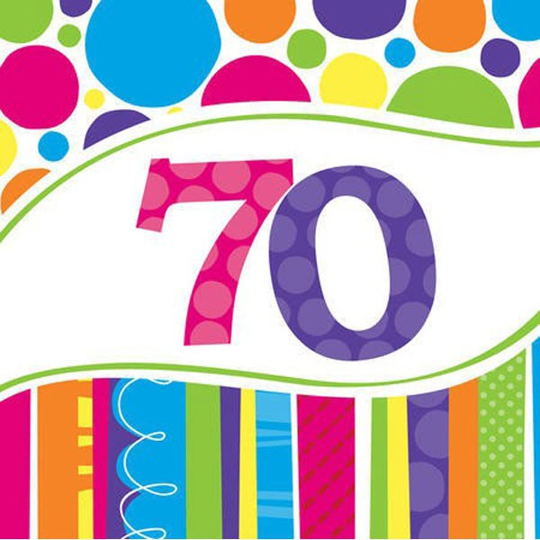 70TH BIRTHDAY BRIGHT & BOLD LUNCH NAPKINS PACK OF 18