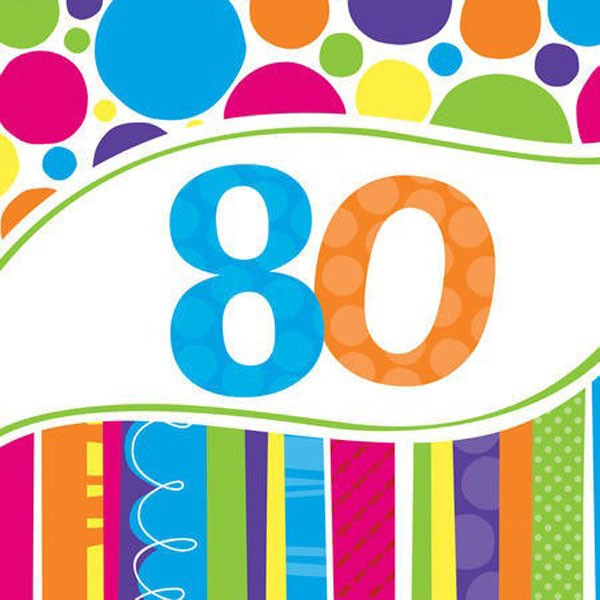 80TH BIRTHDAY BRIGHT & BOLD LUNCH NAPKINS PACK OF 18