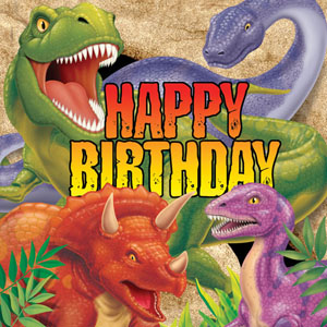 DINO BLAST 'HAPPY BIRTHDAY' LUNCH NAPKINS PACK OF 16