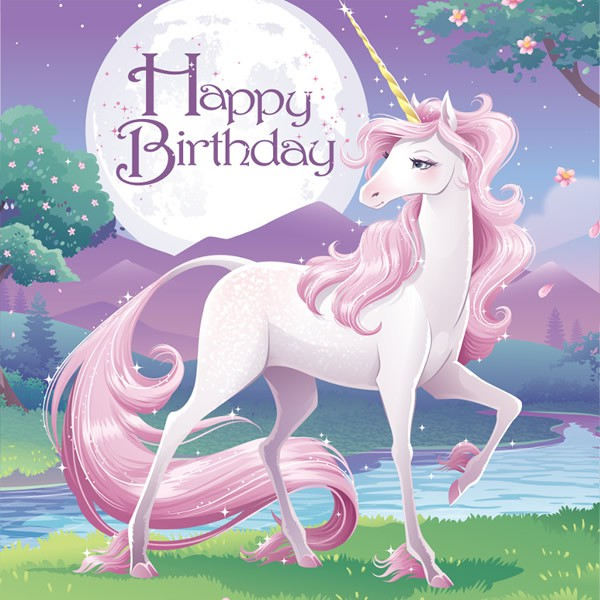 UNICORN FANTASY 'HAPPY BIRTHDAY' LUNCH NAPKINS - PACK OF 16