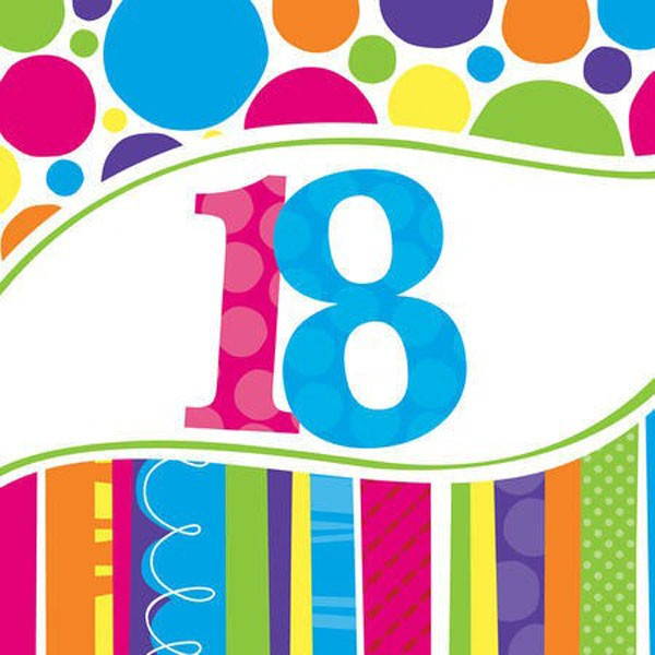 18TH BIRTHDAY BRIGHT & BOLD LUNCH NAPKINS PACK OF 18