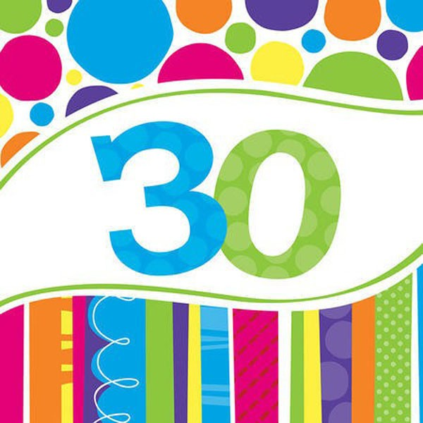 30TH BIRTHDAY BRIGHT & BOLD LUNCH NAPKINS PACK OF 18