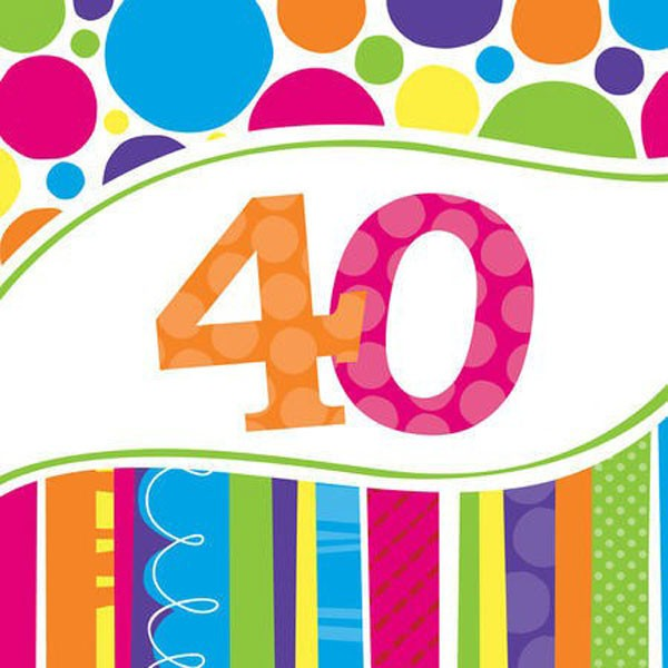 40TH BIRTHDAY BRIGHT & BOLD LUNCH NAPKINS PACK OF 18