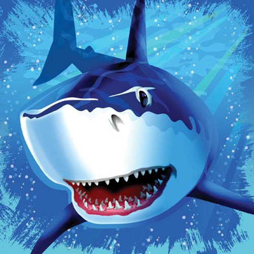 SHARK SPLASH LUNCH NAPKINS - PACK OF 16