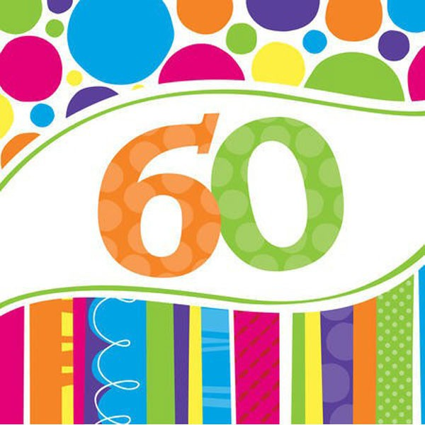 60TH BIRTHDAY BRIGHT & BOLD LUNCH NAPKINS PACK OF 18