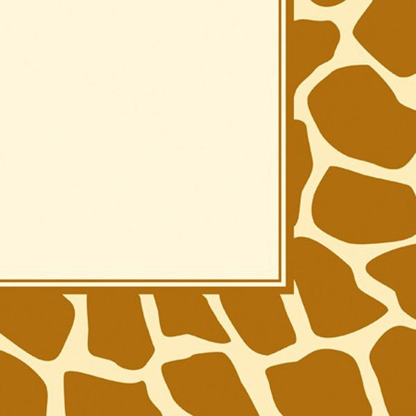 JUNGLE ANIMAL GIRAFFE PRINT LUNCHEON NAPKINS - PACK OF 16