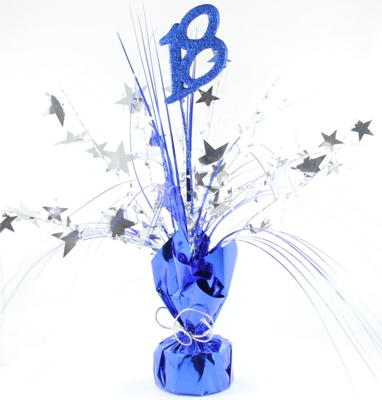 18TH BIRTHDAY BLUE & SILVER TABLE CENTREPIECE