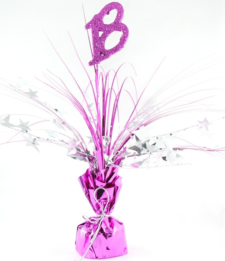 18TH BIRTHDAY PINK & SILVER TABLE CENTREPIECE