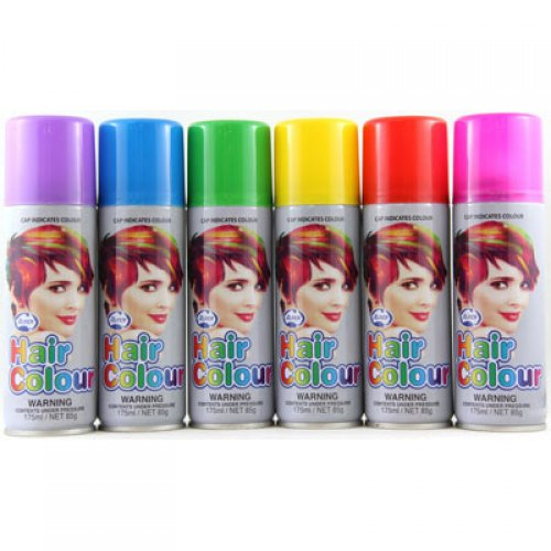 COLOURED NEON HAIR SPRAY - BULK BUY MIXED BOX OF 24