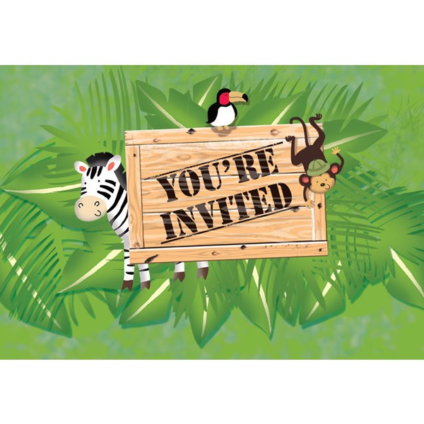 JUNGLE SAFARI ADVENTURE INVITATIONS - PACK OF 8