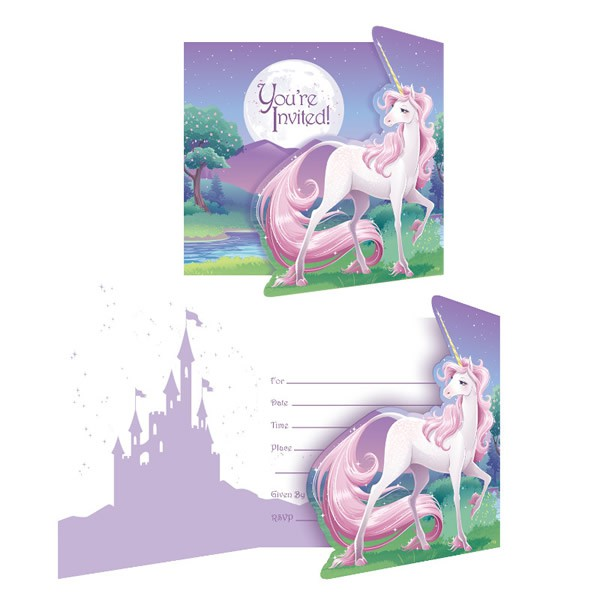 UNICORN FANTASY INVITATIONS - PACK OF 8