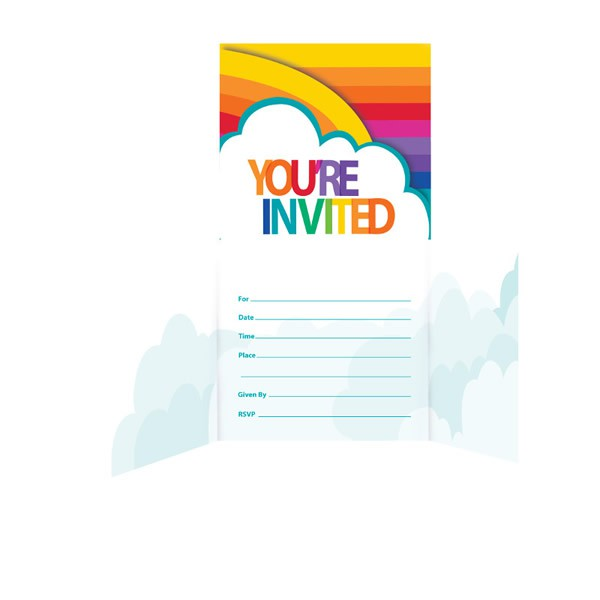 RAINBOW PARTY INVITATIONS - PACK 8