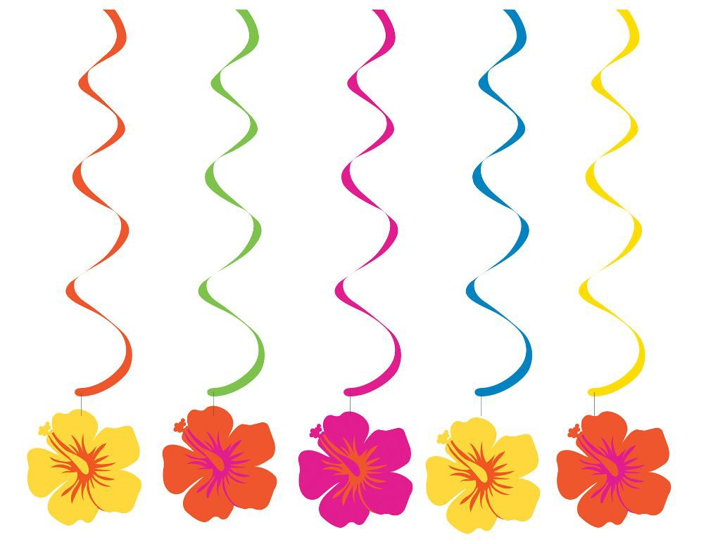 HAWAIIAN HIBISCUS DIZZY DANGLERS - PACK OF 5