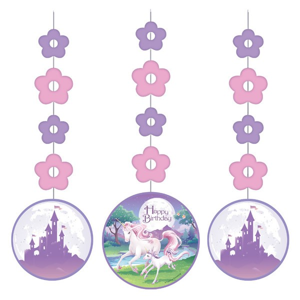 UNICORN FANTASY HANGING CUT OUTS - PACK OF 3