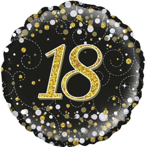 FOIL BALLOON - 18TH BIRTHDAY SPARKLING FIZZ BLACK N GOLD