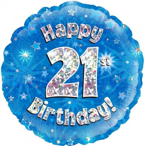 FOIL BALLOON - 21ST BIRTHDAY PARTY SHINING HOLOGRAPHIC BLUE