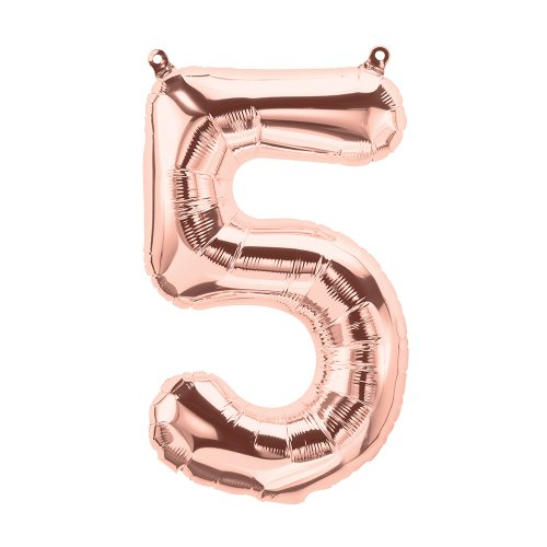 FOIL BALLOON AIR FILLED - ROSE GOLD 'NUMBER 5'
