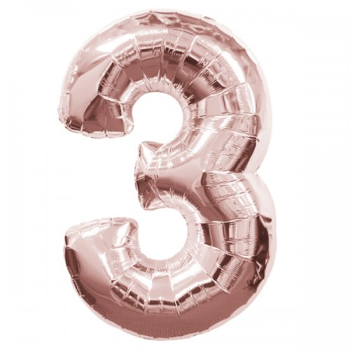 FOIL BALLOON SUPER SHAPE - NUMBER 3 ROSE GOLD