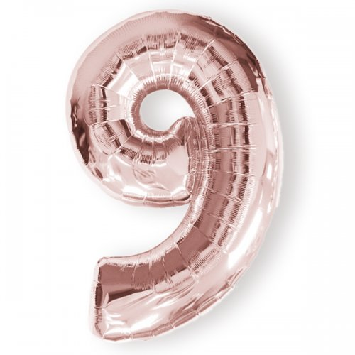 FOIL BALLOON SUPER SHAPE - NUMBER 9 ROSE GOLD