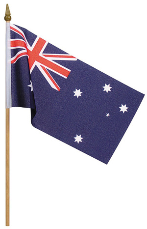 Image of Australian Flag 24x12cm Hand Held Cloth Small Pack Of 2