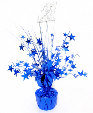 21ST BIRTHDAY PARTY WEIGHTED CENTREPIECE - BLUE