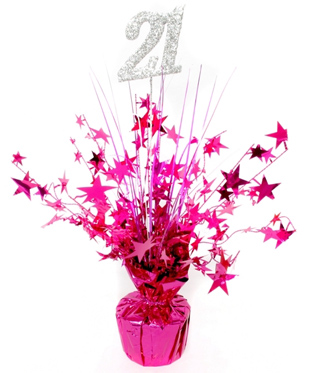 21ST BIRTHDAY WEIGHTED CENTREPIECE - HOT PINK
