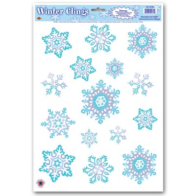 SNOWFLAKE WINDOW CLINGS - CRYSTAL BLUE