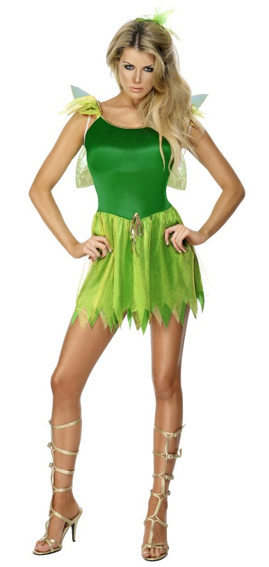 GREEN WOODLAND FAIRY COSTUME, HEADPIECE AND WINGS - SMALL