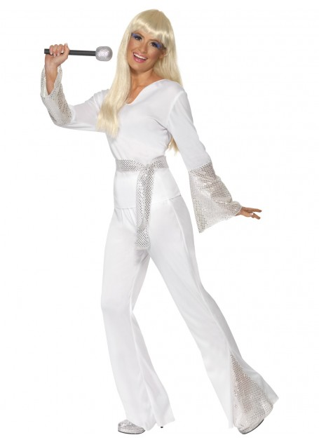 1970\'S ABBA DISCO LADY WHITE & SILVER COSTUME - LARGE