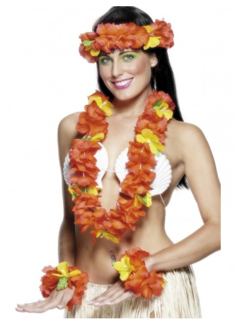 HAWAIIAN FLOWER LEI, HEAD PIECE AND BRACELET SET - RED & YELLOW