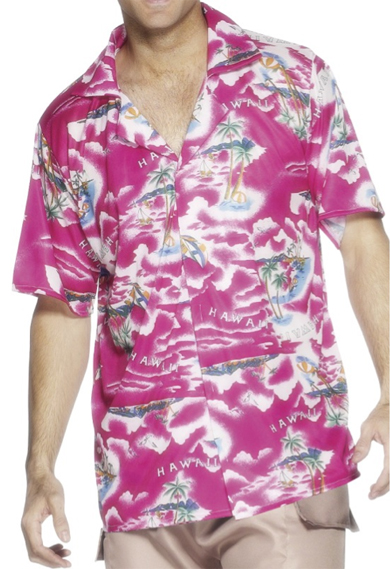 HAWAIIAN SHIRT MALE ADULT - HOT PINK
