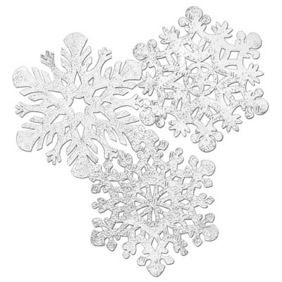 SHIMMERING SILVER SNOW FLAKES LARGE CUT OUTS PACK OF 4