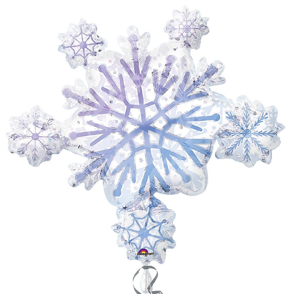 FOIL SUPER SHAPE BALLOON - SNOWFLAKE PRISMATIC CLUSTER