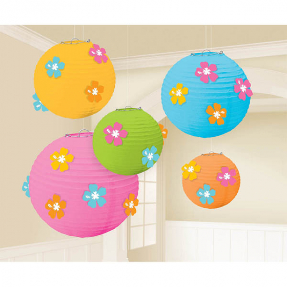 CHINESE PAPER LANTERNS - HIBISCUS SUMMER LUAU PACK OF 5