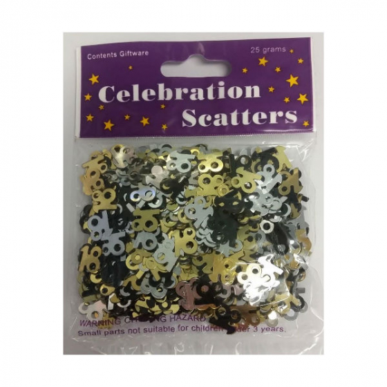 18TH BIRTHDAY TABLE SCATTERS - BLACK, SILVER & GOLD