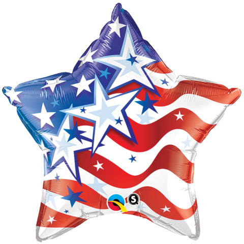 FOIL BALLOON - AMERICAN STARS & STRIPES FOREVER STAR SHAPE
