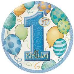 BALLOON DESIGN 1ST BIRTHDAY BOY DINNER PLATES - PACK OF 8