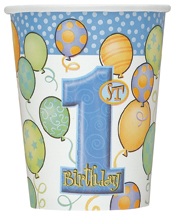 BALLOON DESIGN 1ST BIRTHDAY BOY CUPS - PACK OF 8
