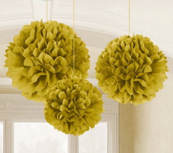 POM POM FLUFFY TISSUE DECORATION - GOLD IN A PACK OF 3
