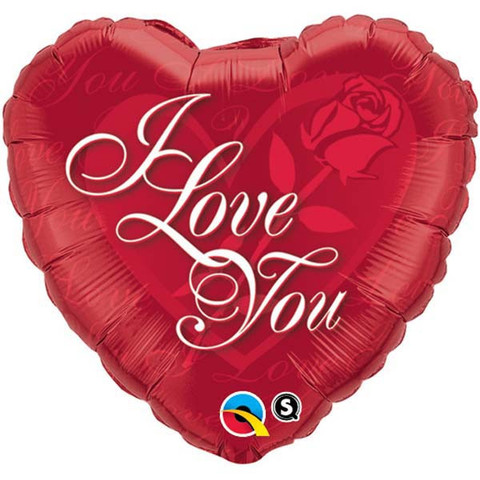 FOIL BALLOON - RED HEART SHAPE I LOVE YOU SCROLL