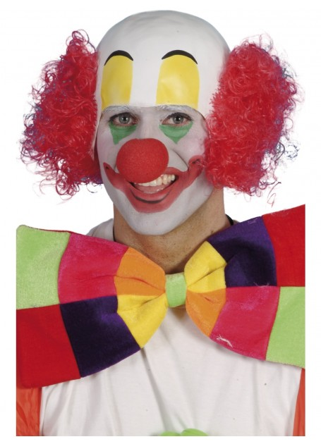 MASK - CLOWN RUBBER TOP HEAD WITH RED CURLY HAIR