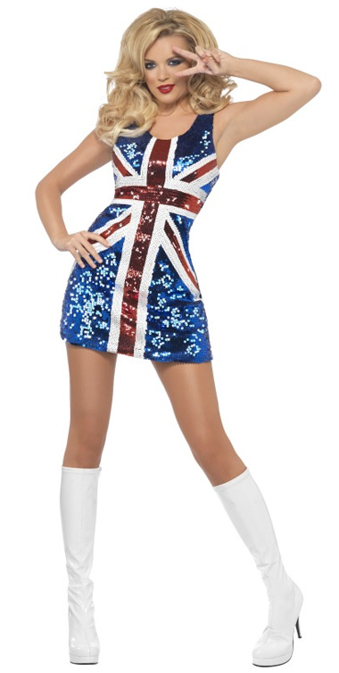 1960'S UNION JACK ROYAL BRITANNIA GLITTER COSTUME