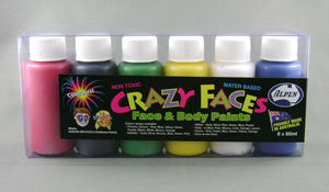 FACE PAINT PRIMARY ASSORTED COLOURS 60ML - PACK 6