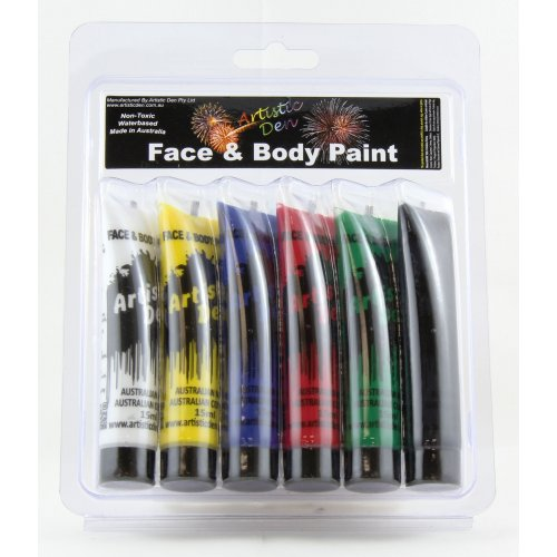 FACE PAINT STANDARD COLOURS & BRUSH 21ML - PACK 6